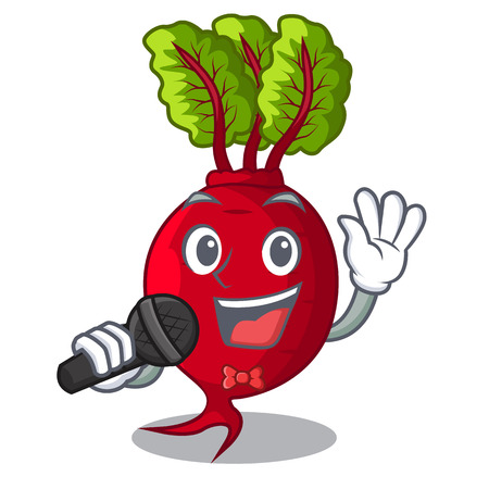 Singing beetroot with leaves isolated on mascot vector illustration