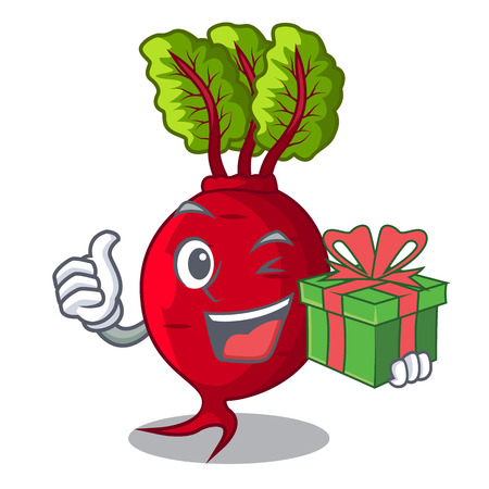 With gift beetroot with leaves isolated on mascot vector illustration