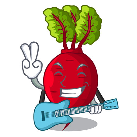 With guitar beetroot with leaves isolated on mascot vector illustration