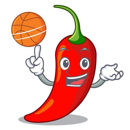 With basketball cartoon red hot natural chili pepper 向量圖像
