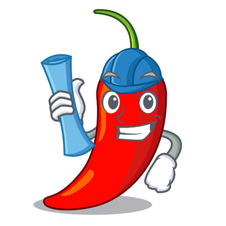 Architect character red chili pepper for seasoning food vector illustration Vektorové ilustrace