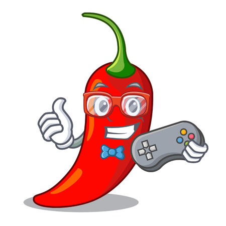 Gamer hot chili pepper on cartoon table vector illustration