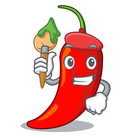 Artist cartoon red hot natural chili pepper