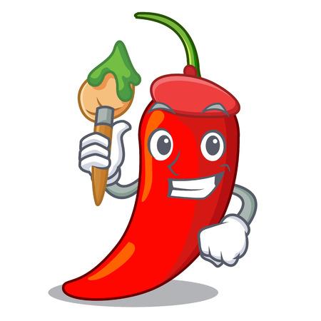 Artist cartoon red hot natural chili pepper
