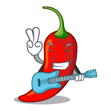 With guitar hot chili pepper on cartoon table vector illustration 일러스트