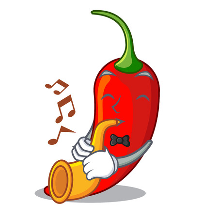 With trumpet hot chili pepper on cartoon table vector illustration Illustration
