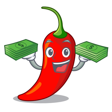 With money hot chili pepper on cartoon table vector illustration