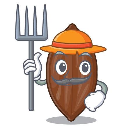 Farmer pecan nuts on a cartoon table Illustration