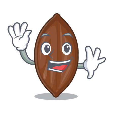 Waving character pecan nuts in wood bowl vector illustration