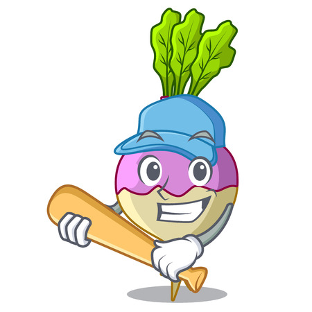 Playing baseball cartoon rutabaga root on the garden