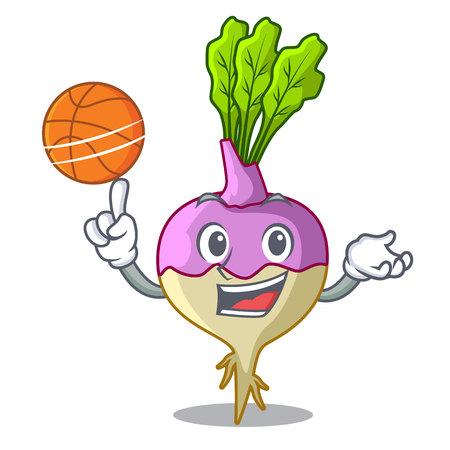 With basketball cartoon rutabaga root on the garden vector illustration Illustration