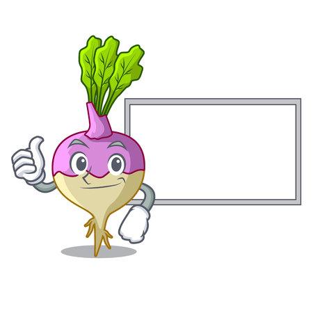 Thumbs up with board cartoon rutabaga root on the garden