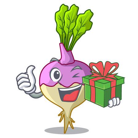 With gift rutabaga cartoon sale in the market vector illustration Illustration