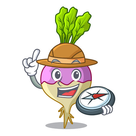 Explorer rutabaga cartoon sale in the market vector illustration