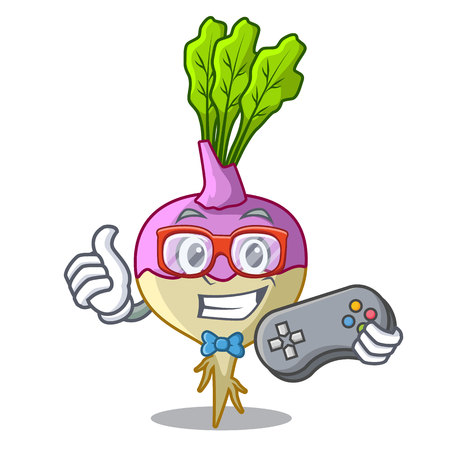 Gamer rutabaga cartoon sale in the market vector illustration
