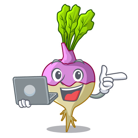 With laptop cartoon rutabaga root on the garden