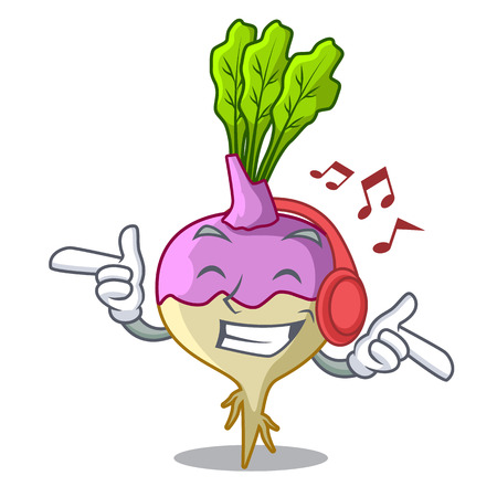 Listening music rutabaga cartoon sale in the market vector illustration