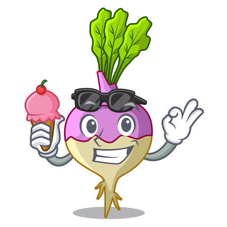 With ice cream character healthy organic rutabaga root vegetables vector illustration