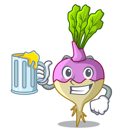 With juice rutabaga cartoon sale in the market vector illustration