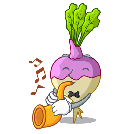 With trumpet rutabaga cartoon sale in the market vector illustration Ilustracja