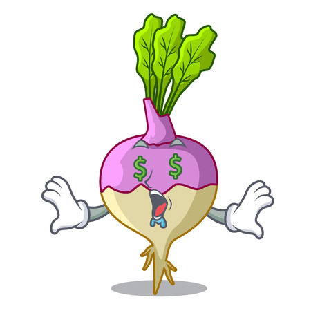 Money eye raw rutabaga root isolated on mascot