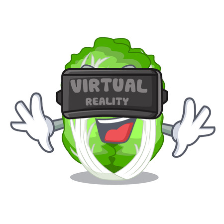 Virtual reality cartoon fresh chinese cabbage vegetable in kitchen vector illustration