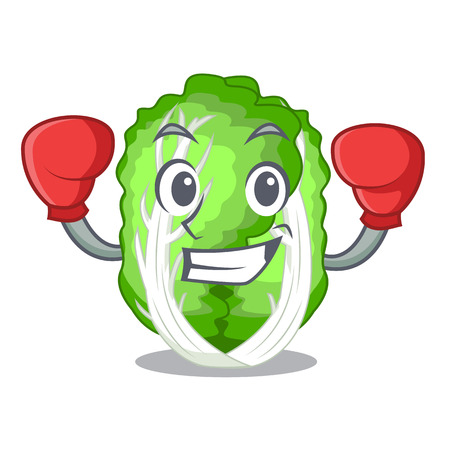 Boxing chinese cabbage in the basket cartoon vector illustration