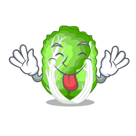 Tongue out chinese cabbage vegetable isolated on cartoon vector illustration