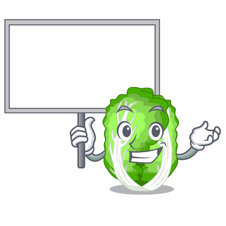 Bring board chinese cabbage in the basket cartoon vector illustration Çizim