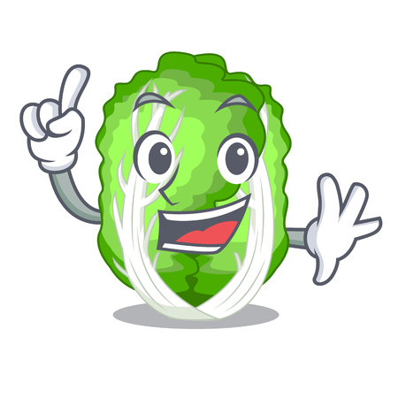 Finger chinese cabbage vegetable isolated on cartoon