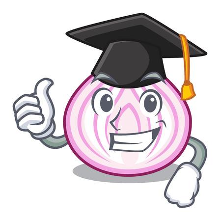 Graduation cartoon slice of red onion for cooking vector illustration Ilustração
