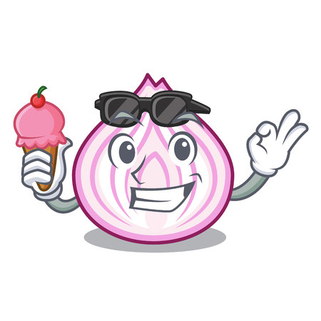 With ice cream cartoon slice of red onion for cooking vector illustration 向量圖像