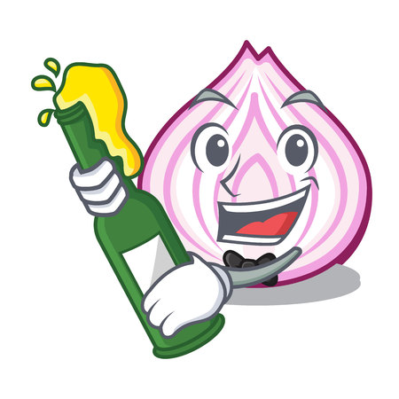 With beer fresh slice onion isolated on mascot vector illustration