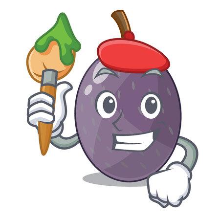 Fruit de tamarin de velours artiste sur illustration vectorielle de plaque dessin animé