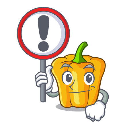 With sign character ripe yellow pepper for cooking vector illustration Illustration