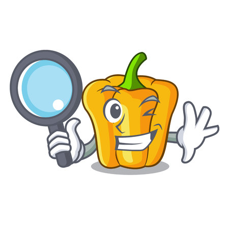 Detective cartoon fresh yellow peppers in the market Banque d'images - 108823885