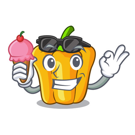 With ice cream cartoon fresh yellow peppers in the market vector illustration Ilustrace