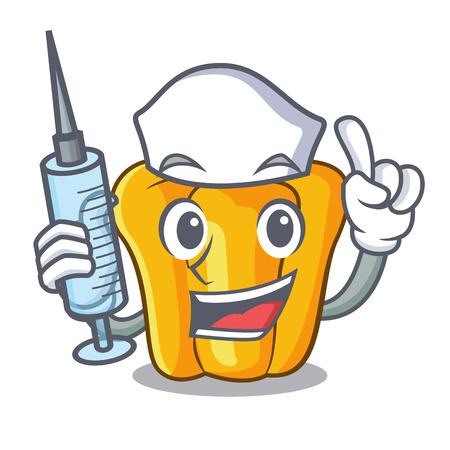 Nurse cartoon fresh yellow peppers in the market vector illustration