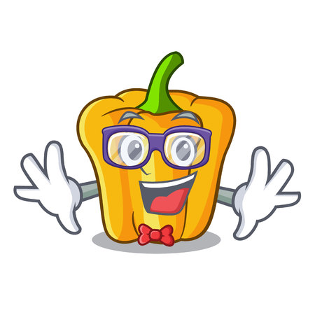 Geek cartoon fresh yellow peppers in the market vector illustration