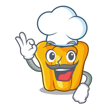 Chef cartoon fresh yellow peppers in the market vector illustration Ilustrace