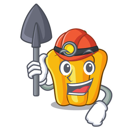 Miner sweet yellow pepper in the kitchen cartoon vector illustration Illustration