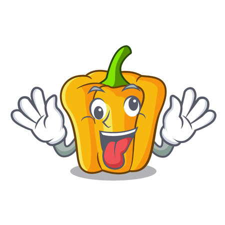 Crazy sweet yellow pepper isolated on mascot vector illustration