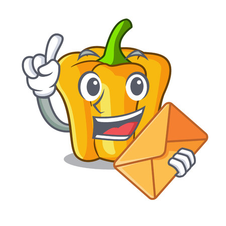 With envelope cartoon fresh yellow peppers in the market vector illustration