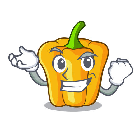 Successful cartoon fresh yellow peppers in the market vector illustration
