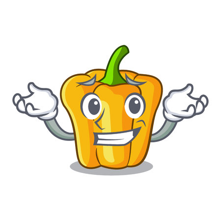 Grinning cartoon fresh yellow peppers in the market vector illustration