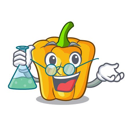 Professor cartoon fresh yellow peppers in the market vector illustration