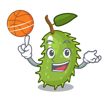 With basketball cartoon soursop fruit in the market vector illustration