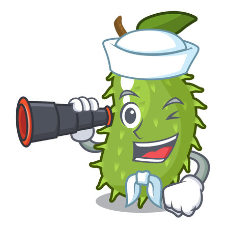 Sailor with binocular sweet soursop fruit in cartoon kitchen vector illustration