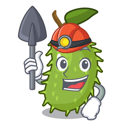 Miner sweet soursop fruit in cartoon kitchen vector illustration