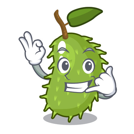 Call me fresh soursop fruit isolated on mascot vector illustration